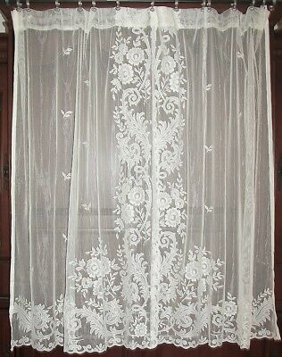 Vintage Victorian Chic French Country Tambour Net Floral Lace Drapes Curtains