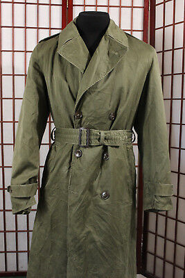 cc53a5a85 Korean War US Army Soldier Military Trench Coat Sz Long Medium OD Green  Korea