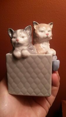 Nao Hand Made In Spain By Lladro Daisa 1988 Cats Kittens In Box Figurine