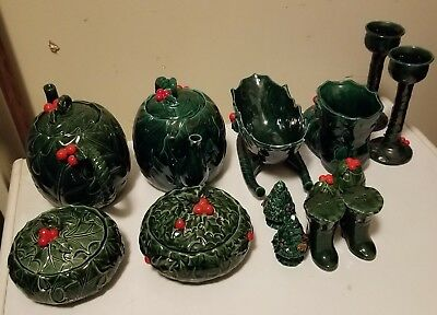 Vintage LEFTON  GREEN HOLLY 10 Christmas Winter Ceramic Assorted Pieces