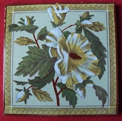Antique Victorian Aesthetic Print & Tint Tile Yellow Flowers Green Ground VGC