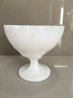 Large Vintage Retro White Milk Glass Stemmed Goblet 1950s 1960s