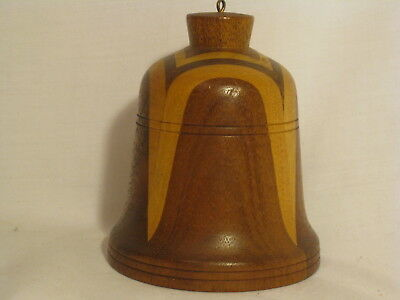 "vintage wood bell unique mixed wooden bell Routon of Arizona 4"" x 3.25"" ringer"