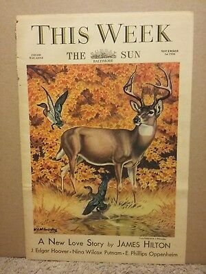 1936 This Week Color Magazine By Baltimore Sun Newspaper J Edgar Hoover