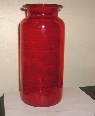 Antique Tall Mold Blown Deep Red Glass Roll Lip Storage Jar Bubbles Lines Rare