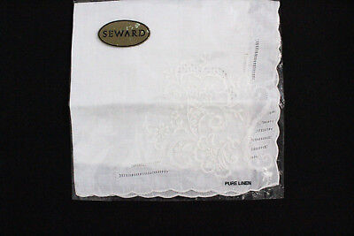 Ladies SEWARD white linen embroidered handkerchief suitable for weddings etc.