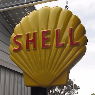 HUGE SHELL Petrol Oil DOUBLE SIDED Sign, Bowser garage gasoline clam
