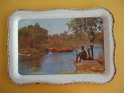 VINTAGE Collectable Willow Metal Tray *Roebuck Bay Broome Aboriginal's Fishing