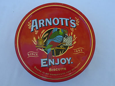 Collectable Arnott's Enjoy Biscuit Tin *1998/1999 *Red with Colourful Rosella