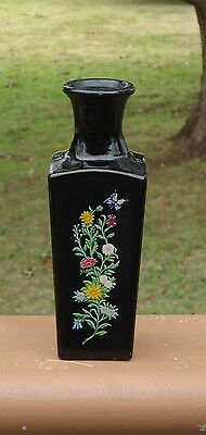 Lovely Vintage AVON Black Glass Perfume Bottle / Vase *Flowers & Butterfly Motif