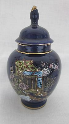 KUTANI Cobalt Blue Oriental gold gilt lidded Ginger Temple Jar Japan