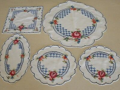 5 X Vintage Hand Worked Assorted Matching Doilies - Fresh Blue / White + Roses