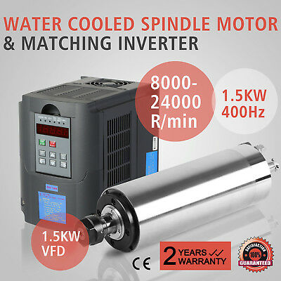 1.5KW VFD Kit W/ 1.5KW Water Cooled Spindle Motor Variable ER11 65MM Drive