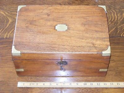 Antique 19th C Brass Bound Campaign Writing Slope with original ink pot