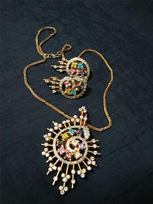 RETRO style  Rhinestone Pendant Necklace and matching stud earrings