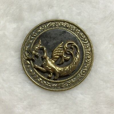 Vintage Antique Brass Picture Button Winged Fire Breathing Dragon