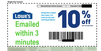 ONE 1x Lowes 10% OFF 1Coupon Lowe's Online/InStore -Fast-Delivery--In 1 MIN