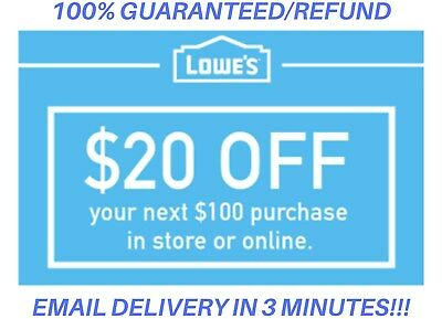 ONE 1x Lowes $20 OFF $100 1Coupon Lowe's Online/InStore -Fast-Delivery--In 1 MIN