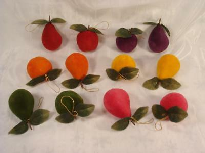 Lot Of 12 Pieces Vintage Flocked Fruit Christmas Ornaments Decor Pears Apples