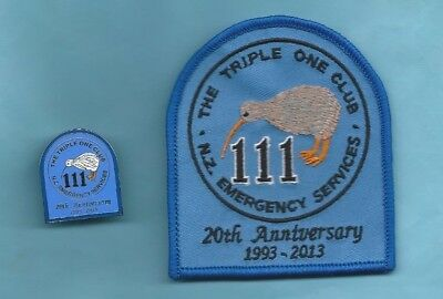(Very Rare) 1993-2013 THE TRIPLE ONE CLUB -  N.Z. EMERGENCY SERVICES Patch & Pin