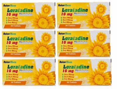 6 X Loratadine Hayfever and Allergy Relief 10mg - 30 Tablets Non Drowsy Clarityn
