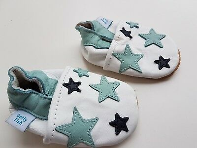 Dotty Fish Soft Leather Baby & Toddler Shoes Boys blue stars - 0-6 months