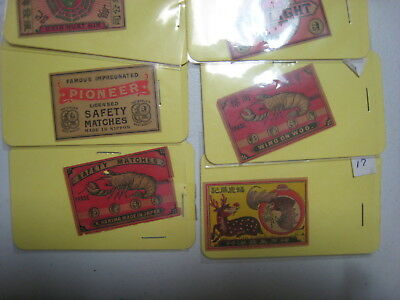 Match box label Japan assortment of 6 covers