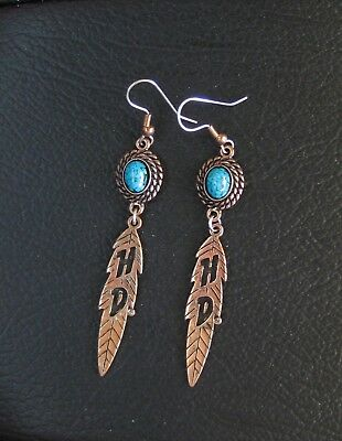 Harley Davidson Turquoise / Copper Dangle Earrings