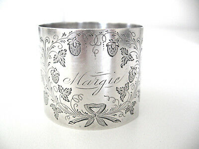 Very early, very ornate sterling silver napkin ring engraved MARGIE