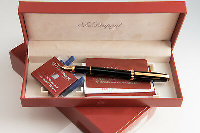 S.t Dupont Olympio Black And Gold Mint Box Papers 14K Medium*m*!!