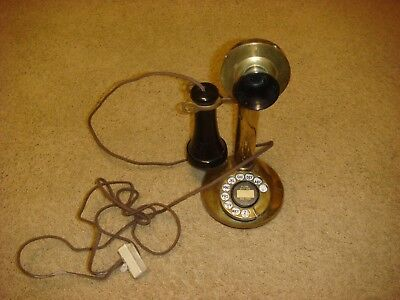 Antique November 1910 - last pat 1920 Brass Candlestick Rotary Telephone USA