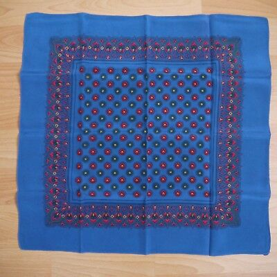 Vintage Blue Red Green Patterned Large Pure Silk Handkerchief Hankie