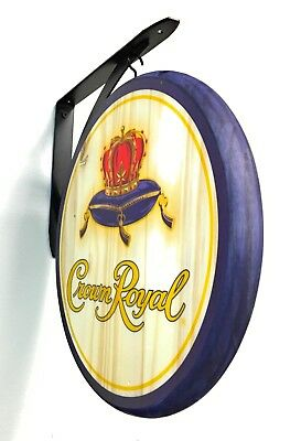 Crown Royal Sign - 2 Sided Wood Pub Sign - 12 inch Diameter