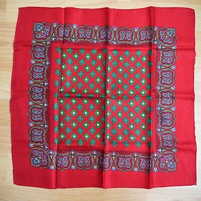 Vintage Red Green Diamond Patterned Large Pure Silk Handkerchief Hankie