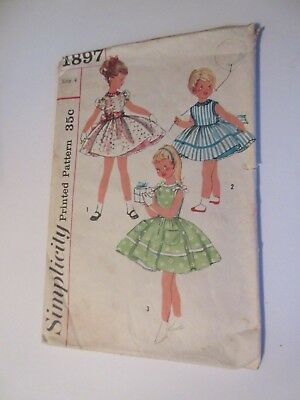 Vtg 1897 Simplicity Girl's Full Skirt Dress & Slip Size 4