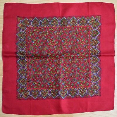 Vintage Red Paisley Patterned Large Pure Silk Handkerchief Hankie