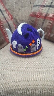 Handmade Knitted Halloween haunted graveyard scene tea cosy .By Poochy Knits.
