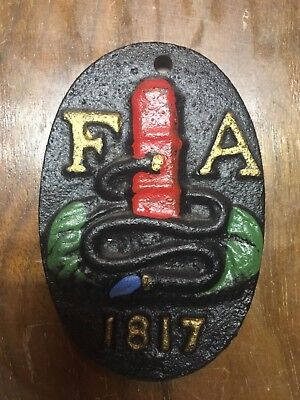 Vintage Cast Iron Fire Mark F A 1817 Oval Extingusher