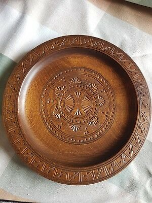 Antique French Hand Carved  Wooden Plate