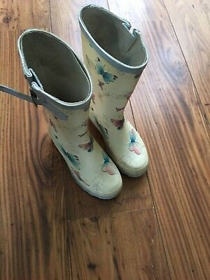 Girls Blue And Cream Next Butterfly Wellies Wellys Size 1