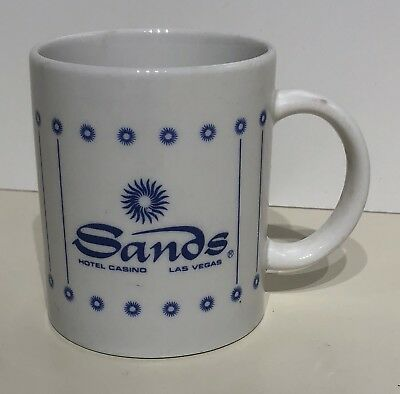 Vintage Sands Hotel Casino Las Vegas Coffee Mug Cup Blue & White - FREE SHIPPING