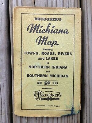 1948 Bruggner's Michiana Map Showing Towns Roads Rivers & Lakes Northern Indiana