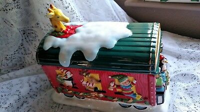 """Train Lovers! Mrs. Fields """"CIRCUS ANIMALS"""" Holiday Express Train Car Cookie Jar"""