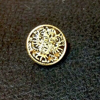 """Vintage 1/2"""" Double Headed Eagle Brass Finish Metal Button"""