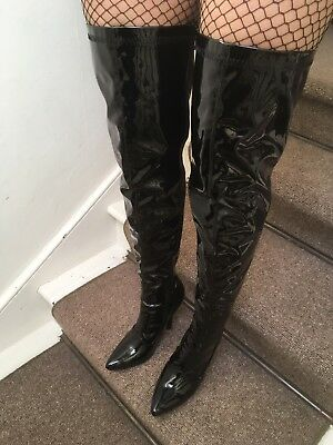 free delivery new photos order WOMENS BLACK PATENT Thigh High Kinky Fetish Boots Size 6 ...