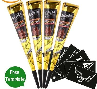 Instant Golecha Black Henna Bridal Mehndi Cones With Or Without Henna Stencils