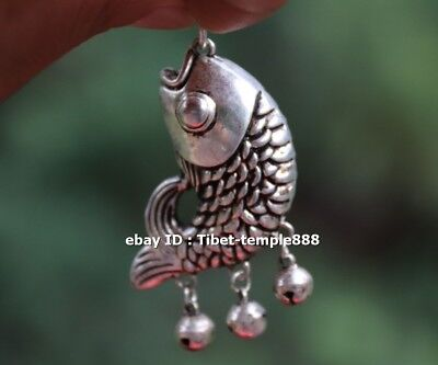 6 CM Chinese Miao Silver Handwork Lucky Animal Fish Small bell Amulet Pendant