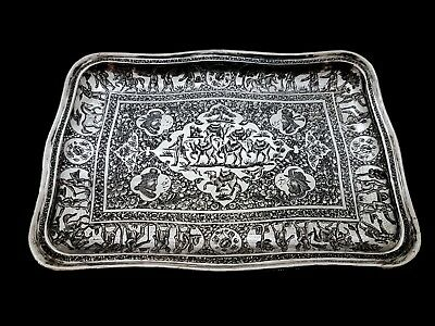 Museum Quality Antique Middle Eastern Persian Qajar Islamic Solid Silver Dish