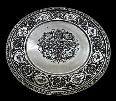 Beautiful Antique Middle Eastern Persian Islamic Solid Silver Signed Tray 303g