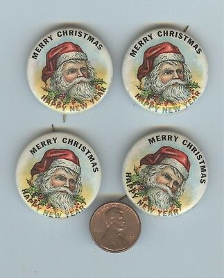 4 piece lot of Santa Claus pin-back buttons, ca. 1960 new old stock
